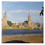 Skyline and river of quaint town of Inverness Tiles