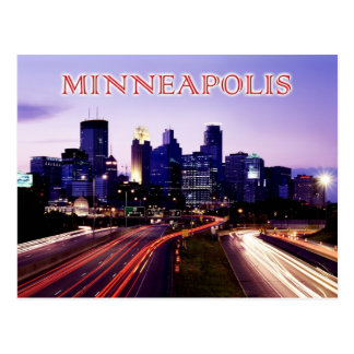 Skyline at dusk, Minneapolis, Minnesota Post Cards