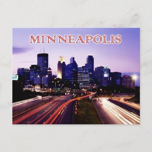 Skyline at dusk Minneapolis Minnesota Postcard