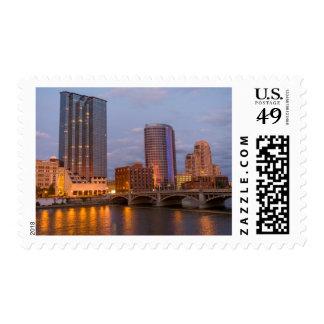 Skyline At Dusk, On The Grand River 2 Postage Stamp