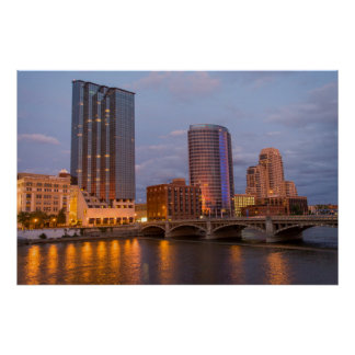 Skyline At Dusk, On The Grand River 2 Poster