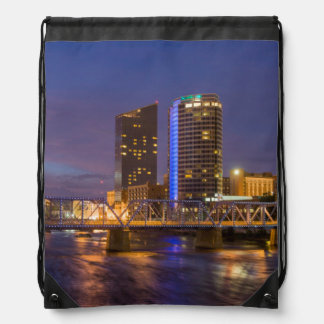 Skyline At Dusk, On The Grand River Drawstring Bag