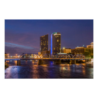 Skyline At Dusk, On The Grand River Poster