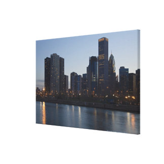 Skyline at night with Lake Michigan Chicago Canvas Print