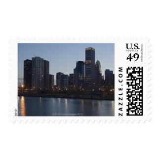 Skyline at night with Lake Michigan Chicago Postage
