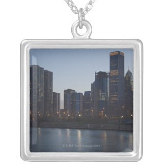 Skyline at night with Lake Michigan Chicago Square Pendant Necklace