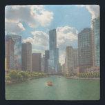 """Skyline Chicago Stone Coaster<br><div class=""""desc"""">Skyline - Chicago - Michigan Lake</div>"""