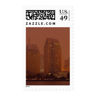 Skyline City Cities Fog Morning 3 Postage Stamps