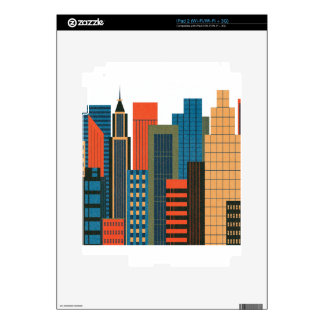 Skyline City Colorful Design Styles Skin For iPad 2
