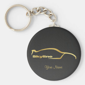 Skyline GT-R gold Silhouette w/ faux Carbon fiber Basic Round Button Keychain