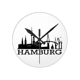 Skyline Hamburg Round Wallclocks
