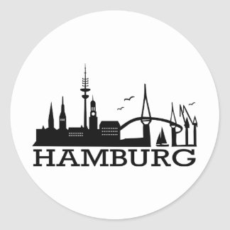 Skyline Hamburg Round Stickers
