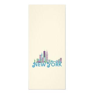 Skyline New York 4x9.25 Paper Invitation Card