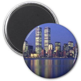 Skyline New York with World Trade Center 2 Inch Round Magnet
