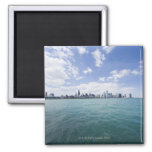 Skyline of Chicago from Lake Michigan, Illinois, 2 Inch Square Magnet