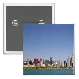 Skyline of Chicago, Illinois, USA. Button