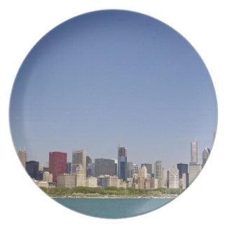 Skyline of Chicago, Illinois, USA. Plate