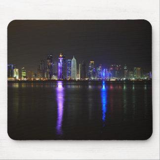 Skyline of Doha, Qatar at night mousepad