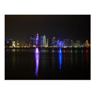 Skyline of Doha, Qatar at night Postcard