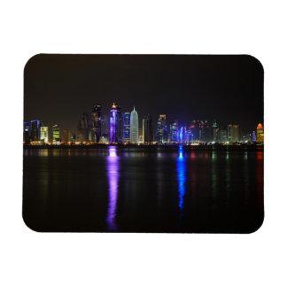Skyline of Doha, Qatar at night rectangular magnet
