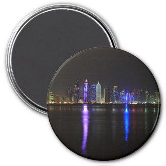 Skyline of Doha, Qatar at night round magnet