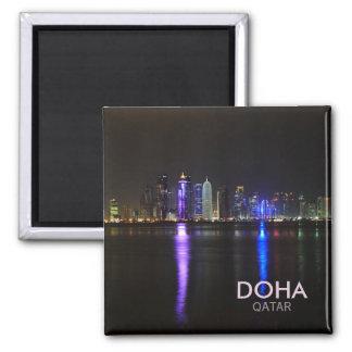 Skyline of Doha, Qatar at night square text magnet