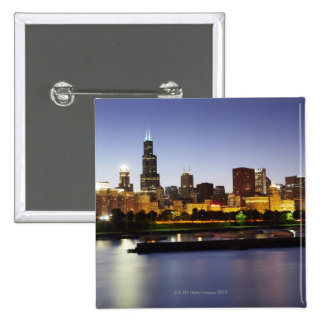 Skyline of downtown Chicago at dusk Pinback Button