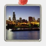 Skyline of downtown Chicago at dusk Christmas Ornaments