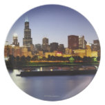 Skyline of downtown Chicago at dusk Plate