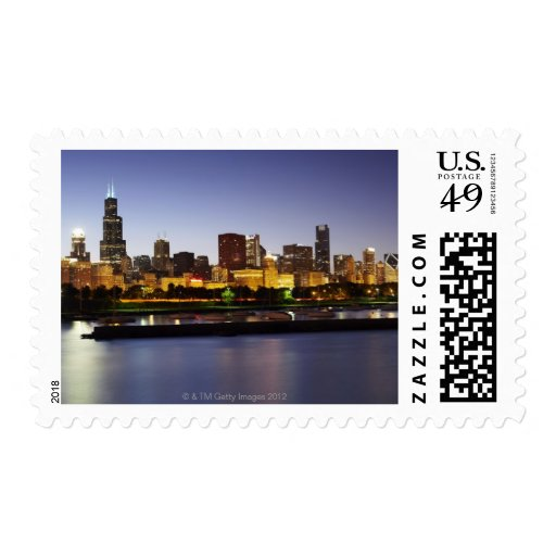 Skyline of downtown Chicago at dusk Postage
