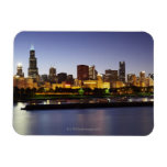 Skyline of downtown Chicago at dusk Rectangle Magnets