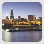 Skyline of downtown Chicago at dusk Square Stickers