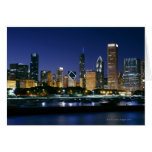 Skyline of Downtown Chicago at night Greeting Cards