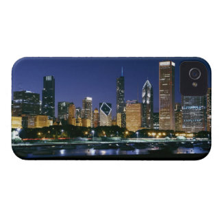 Skyline of Downtown Chicago at night iPhone 4 Case