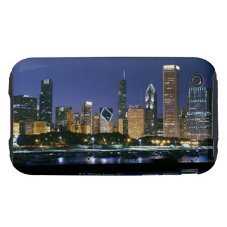 Skyline of Downtown Chicago at night iPhone 3 Tough Case