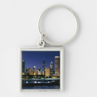 Skyline of Downtown Chicago at night Keychain