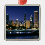 Skyline of Downtown Chicago at night Metal Ornament