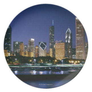 Skyline of Downtown Chicago at night Party Plates