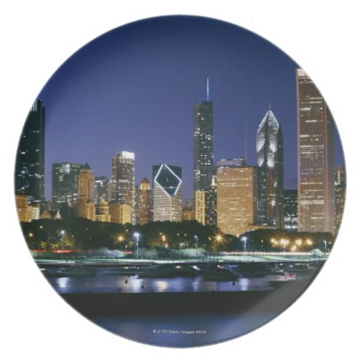 Skyline of Downtown Chicago at night Party Plate