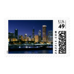 Skyline of Downtown Chicago at night Postage Stamp