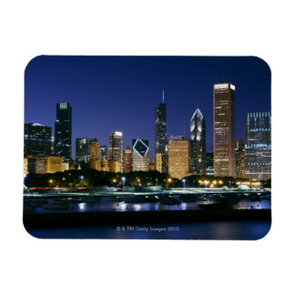 Skyline of Downtown Chicago at night Rectangular Photo Magnet