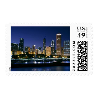 Skyline of Downtown Chicago at night Stamp