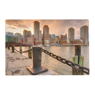 Skyline of Financial District of Boston Laminated Place Mat