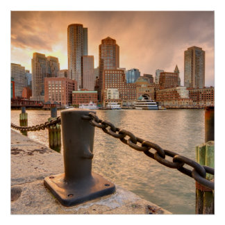 Skyline of Financial District of Boston Poster