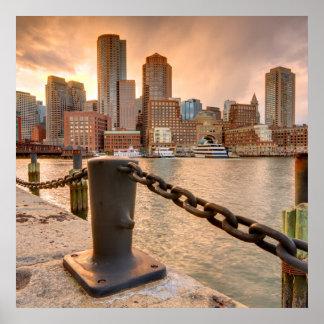 Skyline of Financial District of Boston Print