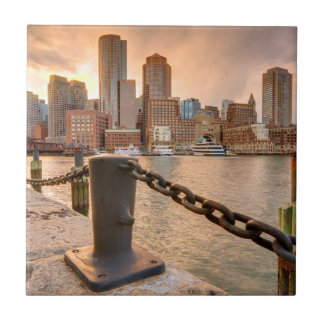 Skyline of Financial District of Boston Small Square Tile