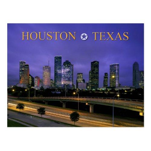 Skyline of Houston Texas at dusk Postcard