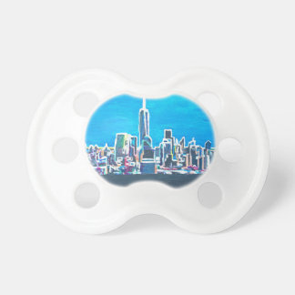 Skyline Of Manhattan New York City With 1wtc Baby Pacifier