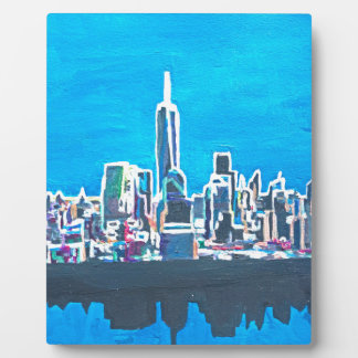 Skyline Of Manhattan New York City With 1wtc Display Plaques