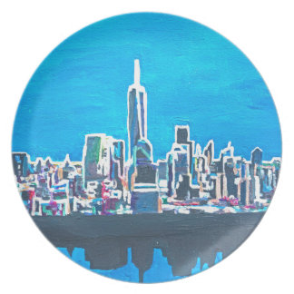 Skyline Of Manhattan New York City With 1wtc Party Plate